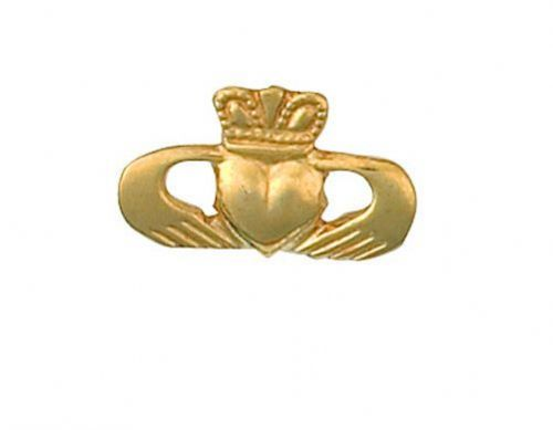 Claddagh Tie Tack Tie Pin Yellow Gold Made To Order in Jewellery Quarter B''ham